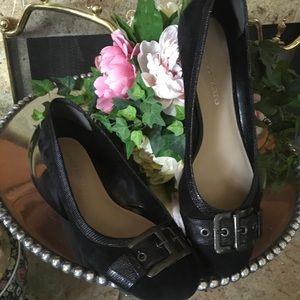 Franco Sarto Clarissa Suede Leather Black Flats